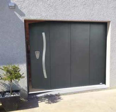 porte sectionnelle laterale portillon decors inox